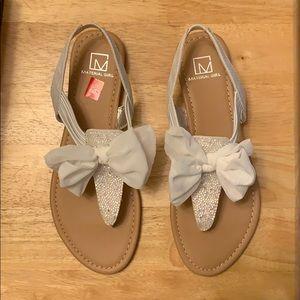 Size 8.5 White Glitter Material Girl Sandal